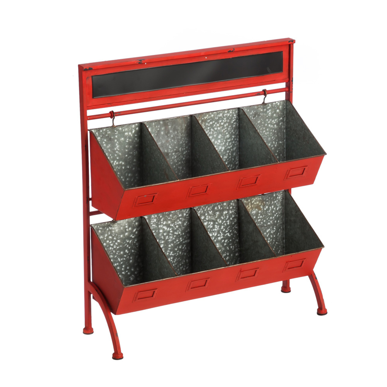 Cape Craftsmen Rustic Red Two-Tiered Farmers Market Storage Cubby with Chalkboard Header