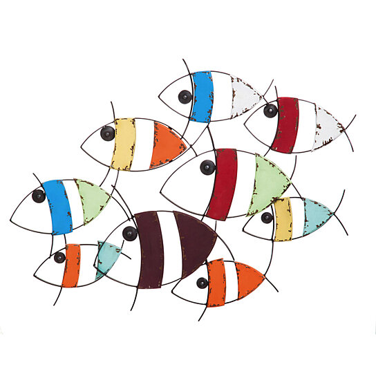 Buy colorful metal and wood school of fish wall decor by for School of fish wall art