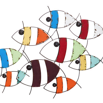 Colorful Metal And Wood School Of Fish Wall Decor