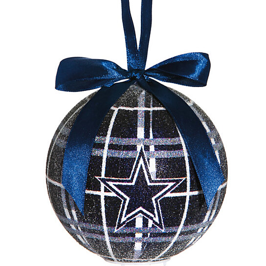 dallas cowboys light up led sparkle plaid christmas ornament