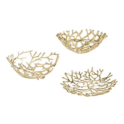 Elegant Gold Twig Bowls - Set of 3