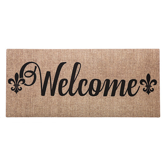 Buy evergreen welcome fleur de lis decorative mat insert 10 x 22 inches by pembroke street - Fleur de lis doormat ...