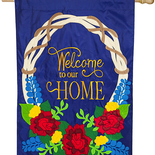 Buy Evergreen Welcome Wreath Estate Sized Applique Flag