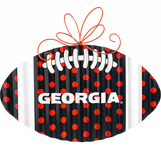 Buy georgia bulldogs corrugated metal football door decor for International decor outlet georgia