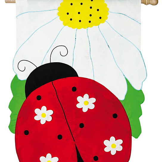 Buy Ladybug Bloom Applique House Flag 28 X 44 Inches By