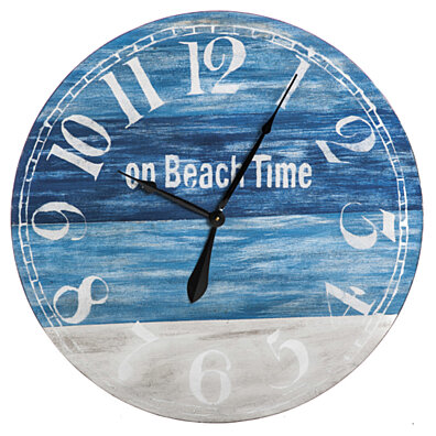 On Beach Time Round Wooden Wall Clock