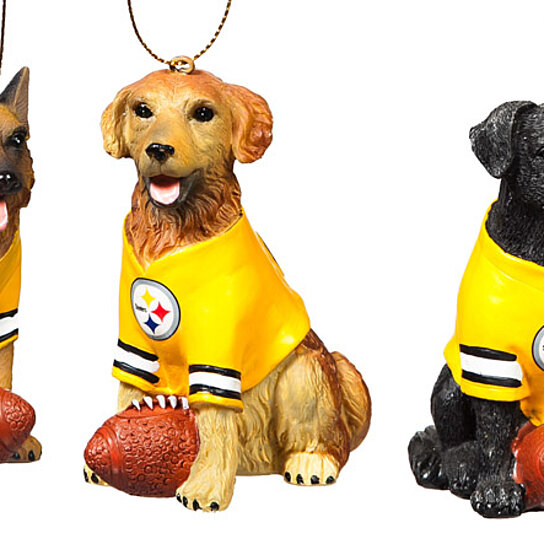 Steelers Christmas Ornaments.Pittsburgh Steelers Jersey Wearing Dogs Christmas Ornament Set
