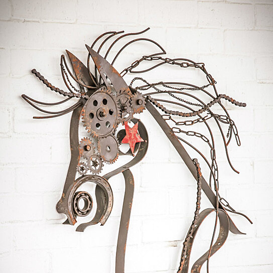 Art Décor: Buy Rustic Large Metal War Horse Wall Decor With Bike