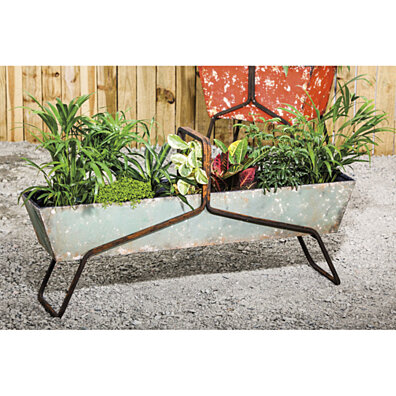 Rustic Metal Long Planter and Chiller Tub
