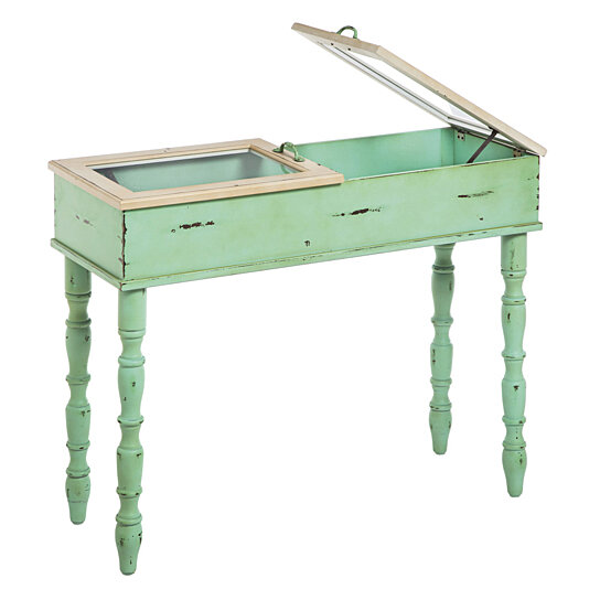 Green Foyer Table : Buy sea green entryway table with double glass display