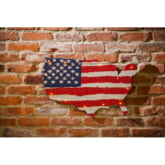 Buy usa shaped vintage led lit hanging wall decor by for International wall decor