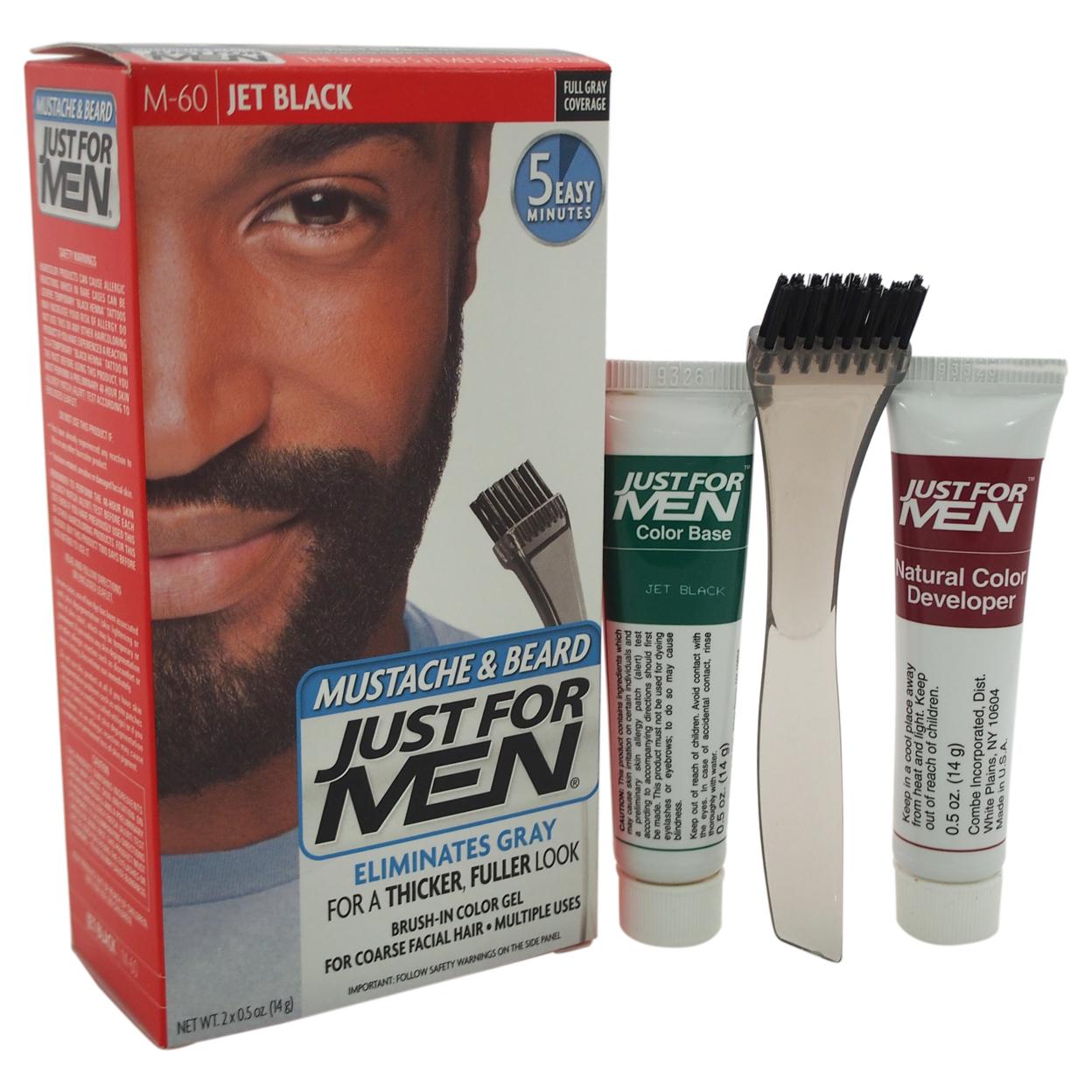 Brush-In Color Gel Mustache & Beard Jet Black # M-60 by Just For Men for Men - 1 Kit Mustache & Beard Color 5898e1b7c98fc450900ecc78