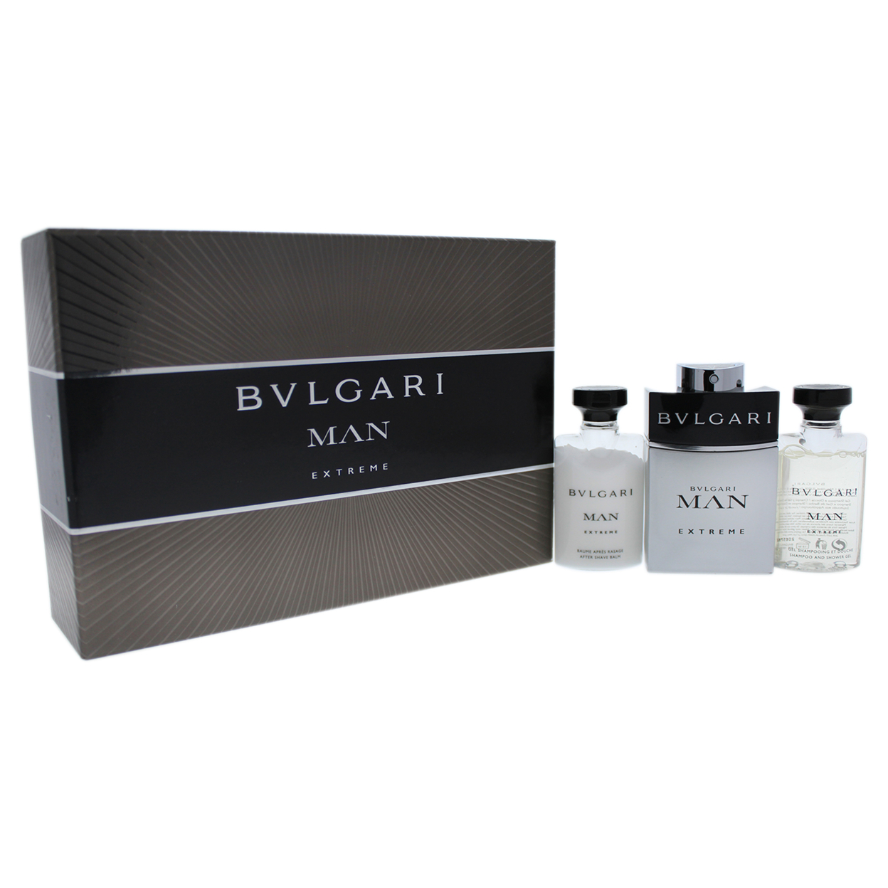 Bvlgari Man Extreme By Bvlgari For Men 3 Pc Gift Set 2oz Edt Spray, 1.35oz After Shave Balm, 1.3oz Shampoo And Shower Gel