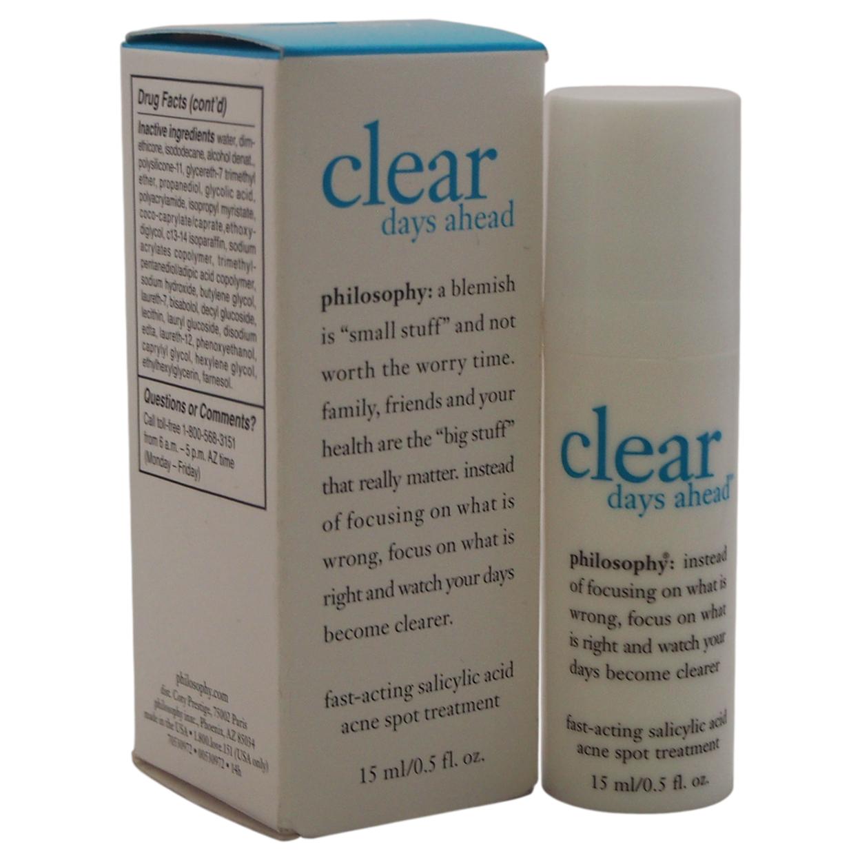 Clear Days Ahead Acne Spot Treatment By Philosophy For Unisex 0.5 Oz Treatment