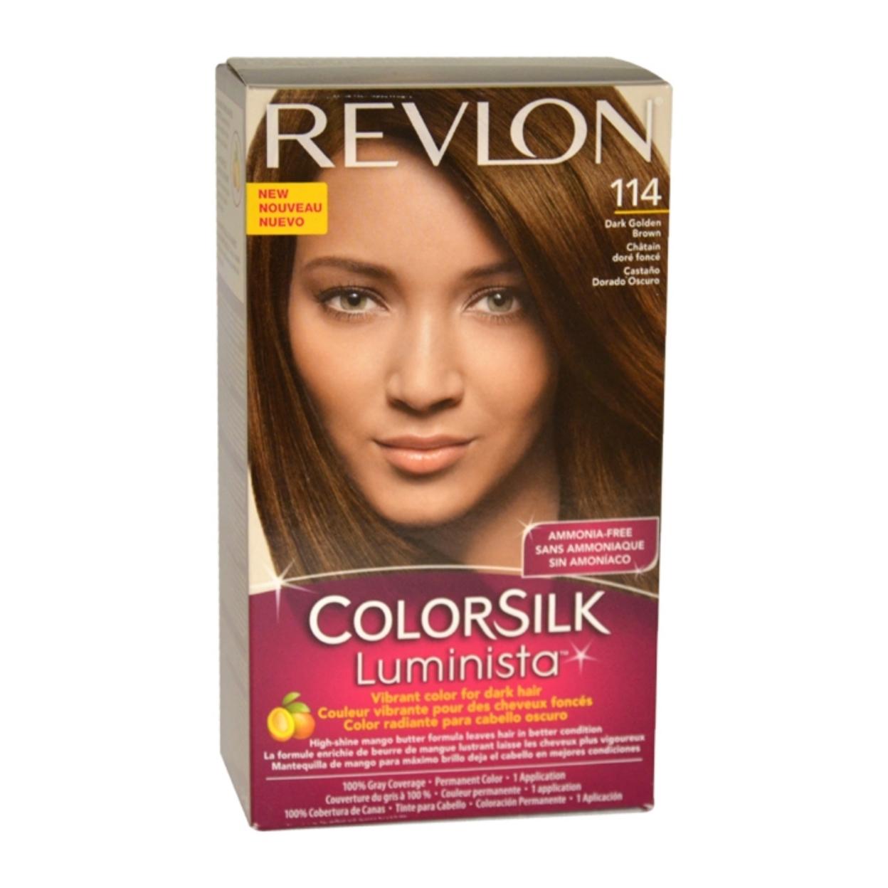 colorsilk Luminista #114 Dark Golden Brown by Revlon for Women - 1 Application Hair Color 583c6a3fe2246159f435b029
