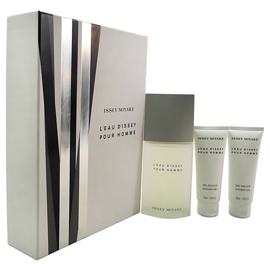 Buy l 39 eau d 39 issey by issey miyake for men 3 pc gift set for Bathroom sets for men