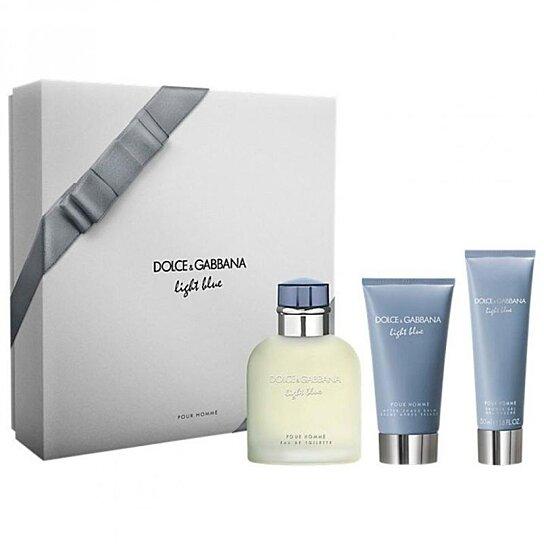 Buy dolce gabbana light blue gift set for men 3 piece by for Bathroom sets for men