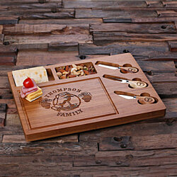 Personalized Bamboo Wood Cutting Bread Cheese Serving Tray Board with Tools