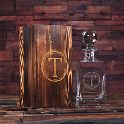 Personalized Engraved Etched Scotch Whiskey Decanter Bottle with Wood Box Groomsmen, Man Cave, Just Married, Christmas Gift for Him