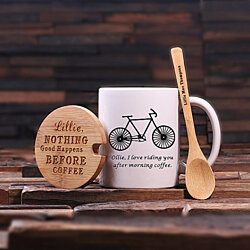 Personalized Gift 12 oz. Coffee Mug, Coffee Cup, Tea Cup with Bamboo Lid Spoon (024938) Mother's Day, Gift for Mom, Chrstmas Gift For Her