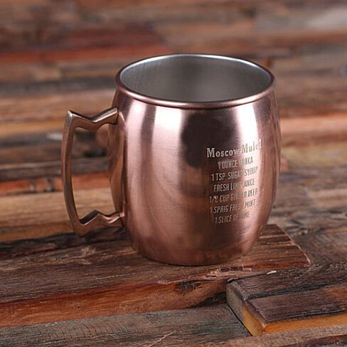 Personalized Moscow Mule Mug with Classic Recipe Groomsmen, Bartender Gift for Him Copper Finish