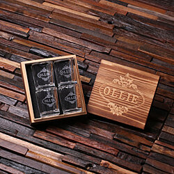 Personalized Shot Glasses with Wood Box