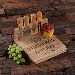 Personalized Wood Cutting Bread Cheese Serving Tray Board with Tools