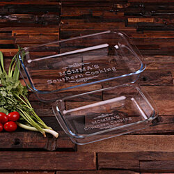 Set of 2 Personalized Etched 1 L + 2 L Casserole Baking Dish Wedding, Mother's Day, Grandma Christmas Gift