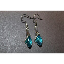 colorful crystal and silver earring