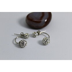 Double ball crystal sterling silver earrings