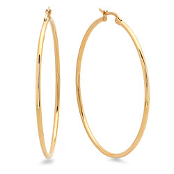 18k Gold Plated 50mm Classic Hoop Earrings