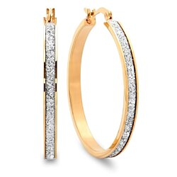 18k Gold Plated Glitter Hoop Earrings