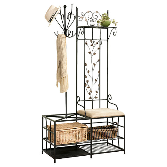 Buy Pilaster Designs Black Finish Metal Hallway Storage Bench With Coat Rack Umbrella Holder