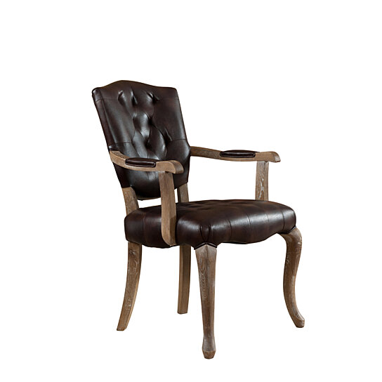 Porter Leather Chair Set Of 2: Burl Brown Finish Solid Wood With