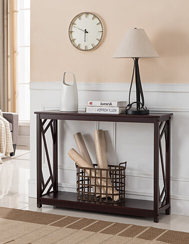 Dark Cherry Wood Occasional Entryway Console Sofa Table With Storage Shelf