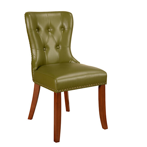 Buy green trim nail head accent dining room chairs set of for Dining room head chairs