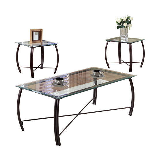 Buy pilaster designs 3 pc beveled glass and copper for Metal frame glass coffee table