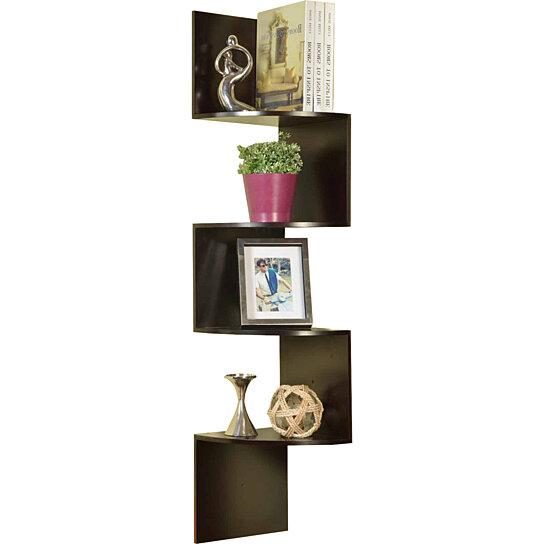 Buy  Tier Corner Zig Zag Hanging Wall Shelf Espresso Finish By