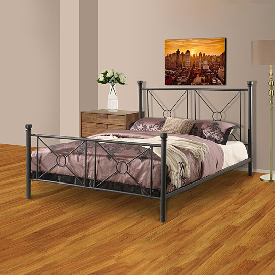 buy pilaster designs matte black metal queen size bed headboard footboard rails metal slats. Black Bedroom Furniture Sets. Home Design Ideas