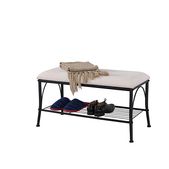 Buy Pilaster Designs Metal Storage Bench With White Cream Cushion Seat Shoe Rack By Pilaster