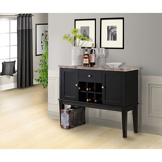 What Is The Best Finish For Kitchen Cabinets: Buy Black & Marble Wood Wine Rack Buffet Display Console