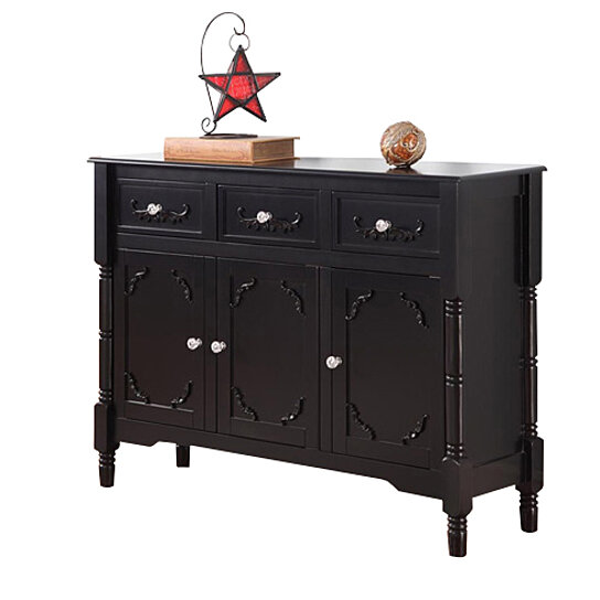 Buy black wood sideboard buffet display console table with for Sofa table with drawers and doors