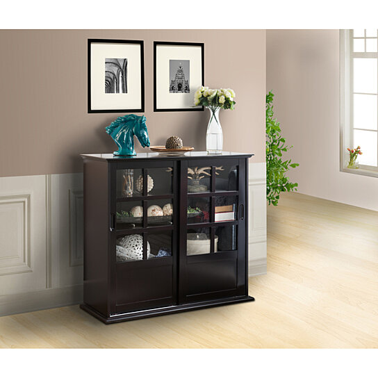 Buy Pilaster Designs Wood Curio Cabinet With Glass Sliding Doors Espresso Finish By Pilaster