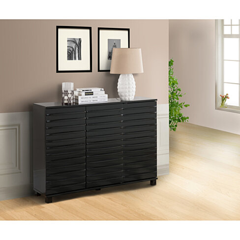Designs wood wave design console table with storage black finish