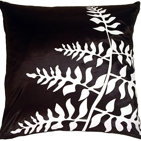 Pillow Decor - Black with White Bold Fern Throw Pillow