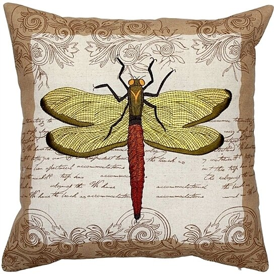 Buy Pillow Decor Embroidered Dragonfly Throw Pillow