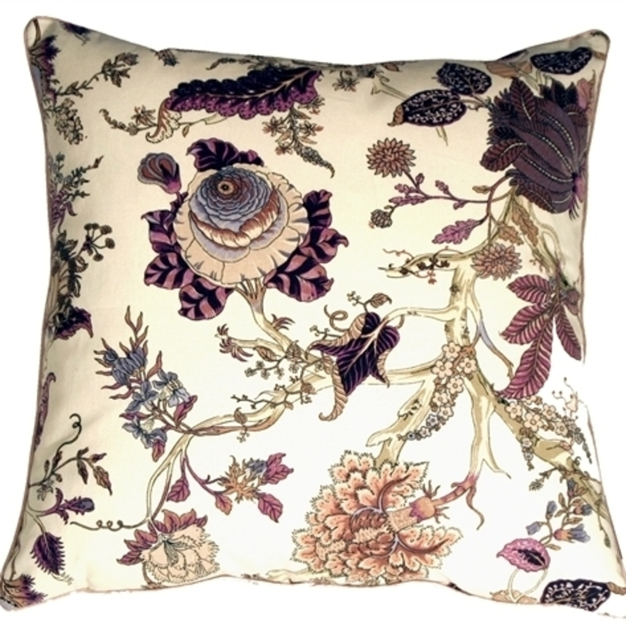 Pillow Decor Highland Floral Cream And Purple 20x20 Throw Pillow
