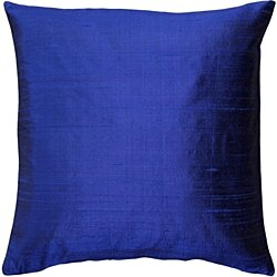 Pillow Decor - Sankara Ink Blue Silk Throw Pillow 18x18