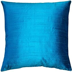 Pillow Decor - Sankara Peacock Blue Silk Throw Pillow 18x18