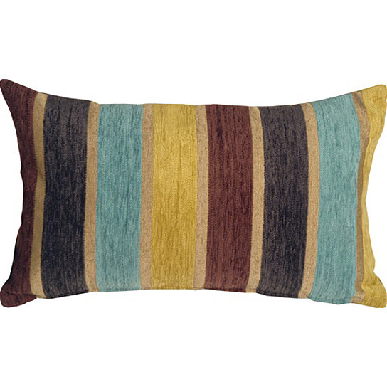 Buy Pillow Decor - Savannah Stripes 12x20 Yellow Blue Chenille Throw Pillow by Pillow Decor on ...